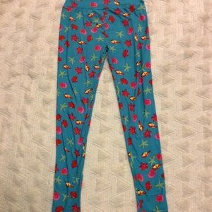Lularoe Legging Blue Ocean Seashells Starfish OS